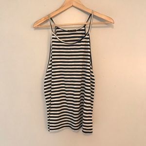 High Neck Tank - black and white stripe